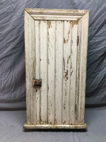 Antique Country Cottage Cabinet recessed Mocha Shabby VTG Chic Old 1034-20B