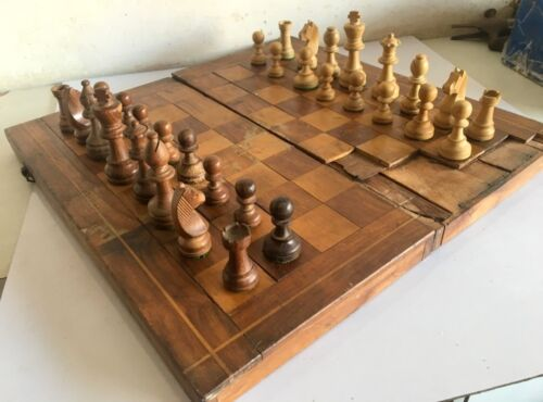 ANTIQUE HANDMADE WOODEN CHESS SET WITH FOLDING GAME BOARD CIRCA 1900
