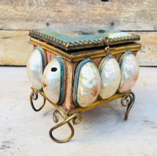 Vintage Rare Copper Gold French Mother Pearl Ormolu Scent Perfume Bottle Box