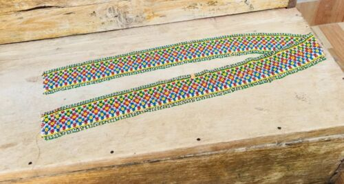 """Vintage Hand Made Beads Fine Indian Tribal Lady Art Work Table Runner 40 """" Big"""