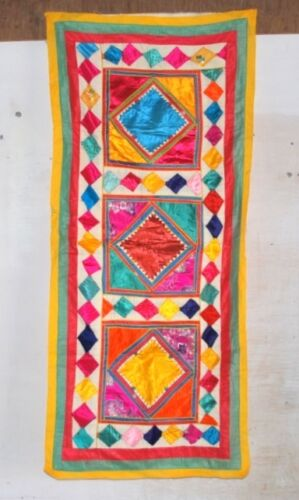 Vintage Old Indian Tapestry Hand Patch Work Poly Satin Traditional Wall Decor