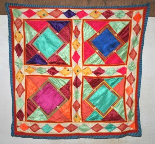 Vintage Traditional Indian Hand Patch Work Satin Tapestry Ethnic Home Wall Decor