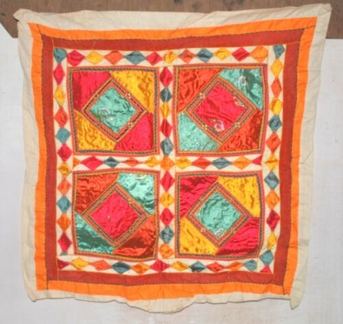 """Old Indian Satin Hand Patch Work Tapestry Ethnic Home Wall Decor  Full Size 26"""""""