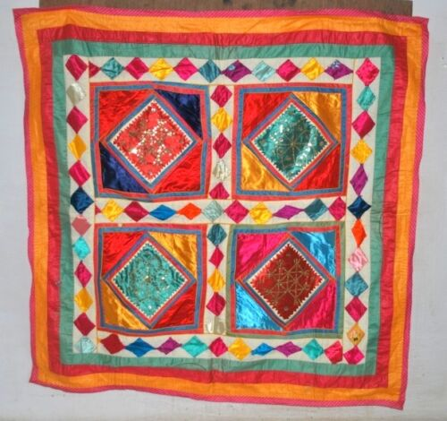 """Vintage Indian Hand Patch Work Satin Embroidered Tapestry Ethnic Wall Decor 35"""""""