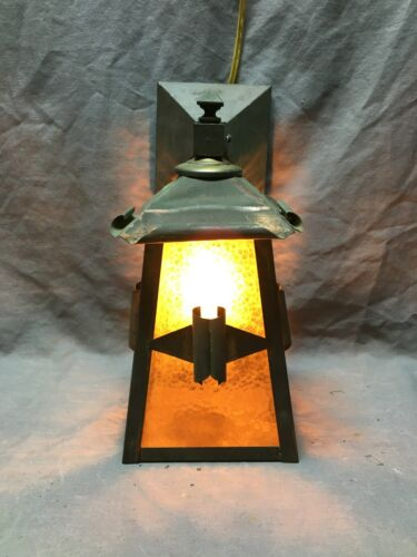 Antique Arts & Crafts Copper Wall Sconce Vintage Old Stained Glass 1092-20B