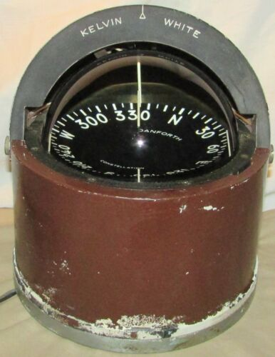 "VINTAGE 5"" KELVIN WHITE DANFORTH CONSTELLATION NAUTICAL COMPASS, USED - VG"