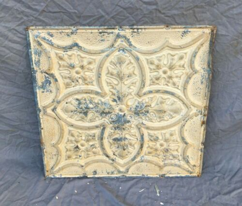 "Antique Tin Metal Ceiling  2' x 2' Shabby VTG Old 24"" SQ Sand Leaf  1198-20B"