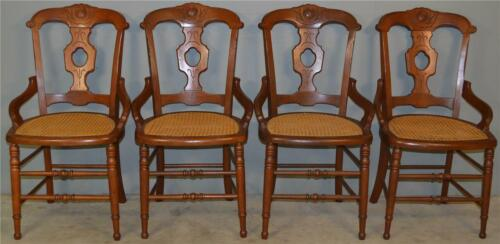 18907 Set of 4 Victorian Walnut Dining Chairs
