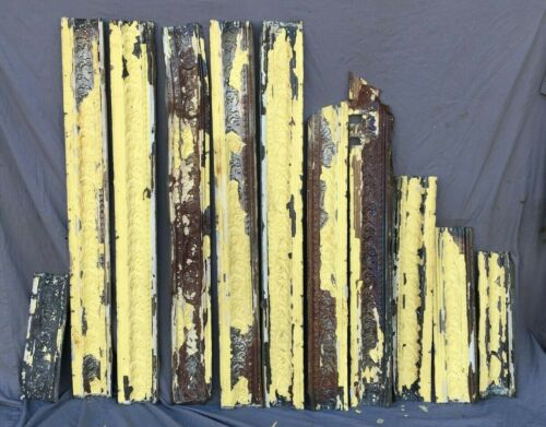 Lot of Antique Tin Ceiling Boarder Trim Yellow Scroll Architectural 1206-20B