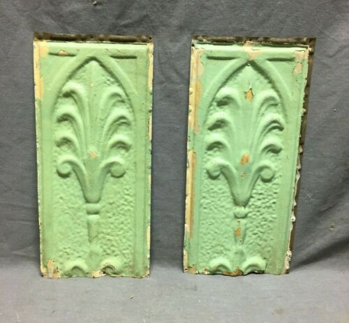 "Pair Antique Tin Metal Ceiling  6"" x 13"" Crafts VTG Old Floret Green 1225-20B"