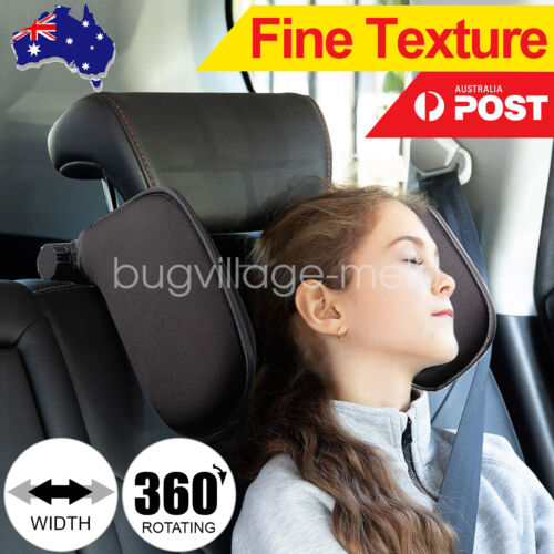 Adjustable Car Seat Headrest Pillow Head Neck Support for Kids and adult Black