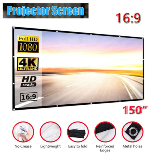 """150"""" Foldable Projector Screen Portable Outdoor Home Movie 3D Cinema Party 16:9"""