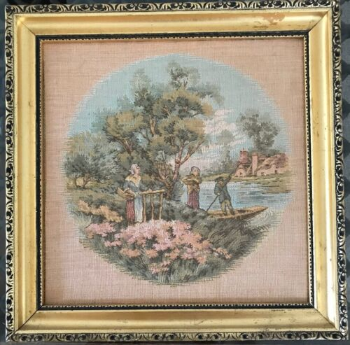 Antique Italian Framed Tapestry Of Mother And Daughter And Gondola