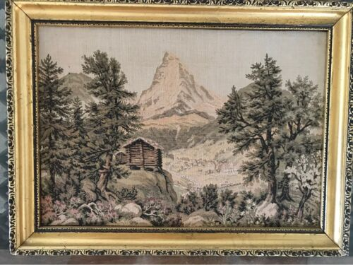 Antique European Tapestry Of Log Cabin In Italian Mountains