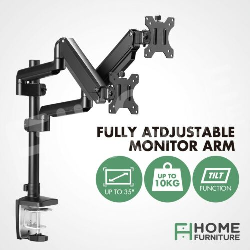 """Screen Monitor Stand 13""""-35"""" Dual Arm Computer Display Desk Holder Gas Spring"""