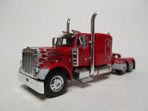 DCP 1/64 SCALE PETERBILT 379 RED WITH WHITE & GRAY FLAMES, WTI REAR FENDERS