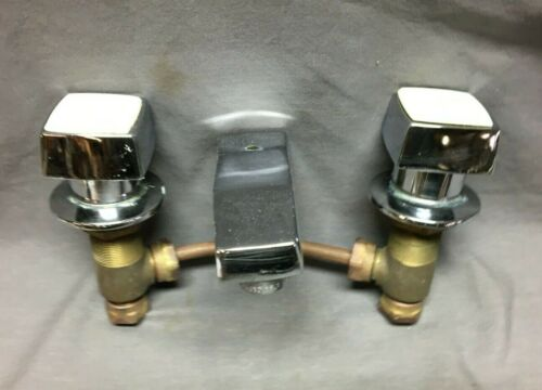 "VTG Kohler Retro Sink Faucet Valves Drain Chrome Brass 8"" Old Spout 45-21B"