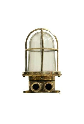 Maritime Nautical Antique Old Ship Brass Wiska Wall Mount Light/Shade Authentic