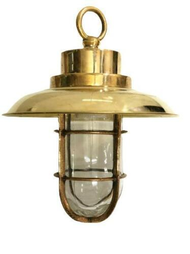 Old Antique Ship Brass Long Vintage Pendant Light with Shade/Hook