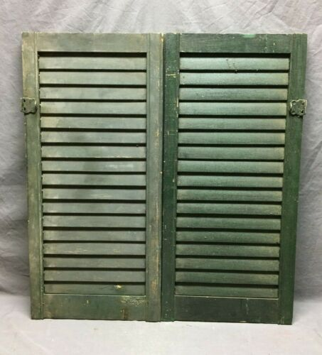 Small Pair 16x33 Antique House Window Wood Louvered Green Shutters VTG 61-21B