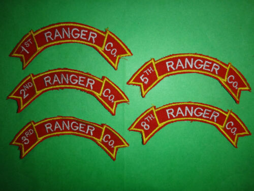 5 US Army RANGER Scrolls Patches: 1st, 2nd, 3rd, 5th And 8th RANGER CompanyArmy - 66529