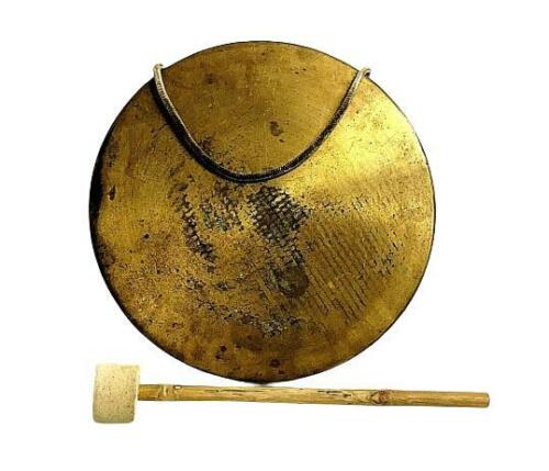 Original Antique Old Vintage Nautical Brass Roaring Semi Drum Bell with Hammer