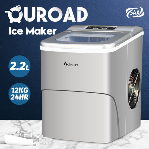 2.2L Commercial Ice Maker Machine Portable Fast Ice Cube Countertop Home Silver
