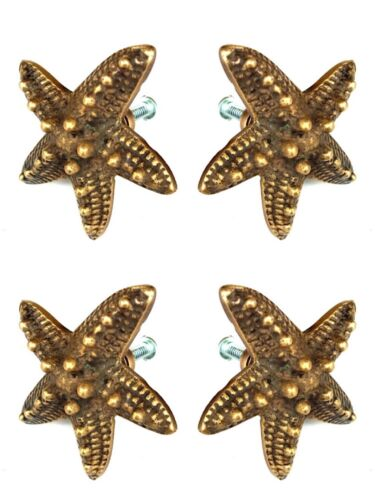4 small STAR FISH solid 100% BRASS knobs TROPICAL VINTAGE old style 50 mm B