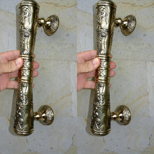 "pair large DOOR handle pulls solid engraved brass vintage POLISHED 13 "" B"