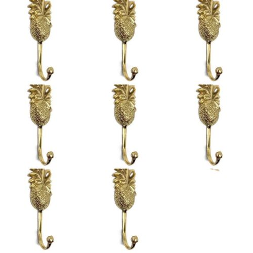 8 small PINEAPPLE100% BRASS HOOK COAT WALL MOUNT HANG old style 12 cm polished B