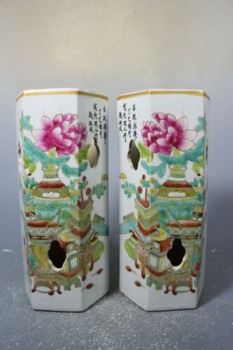 beautiful chinese famille rose porcelain a pair Hat tube(帽筒)