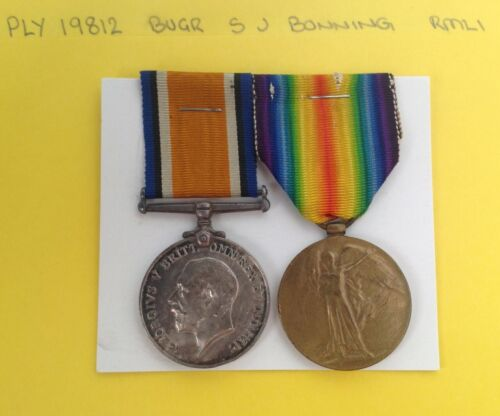 WW1 MEDAL PAIR GROUP PLY 19812 BUGLER BONNING ROYAL MARINE LIGHT INF AIF RMLI  1914 - 1918 (WWI) - 13962