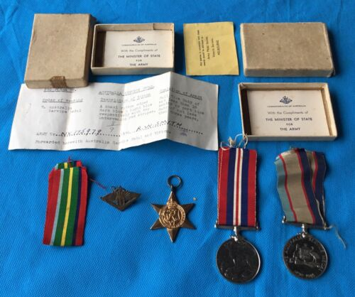 Australian WWII, Medal group of 3 Named with boxes & Returned Badge NX1759791939 - 1945 (WWII) - 13977