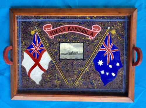 Australian WWII,HMAS KANIMBLA photo,Hand painted Drinks tray with Flags, 1939 - 1945 (WWII) - 13977
