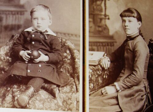 2 ANTIQUE CDV PHOTOS OF A BEAUTIFUL GIRL & A BOY HOLDING AN ORANGE LAWRENCE MASS