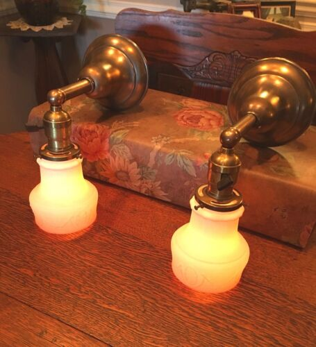 ANTIQUE Early 1900's PAIR of Brass Sconces – Satin Milk Glass Shades