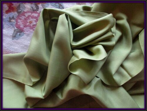 BEAUTIFUL THIN FLAT ANTIQUE VICTORIAN SILK FABRIC PIECE PALE PEA GREEN ORIG SELV