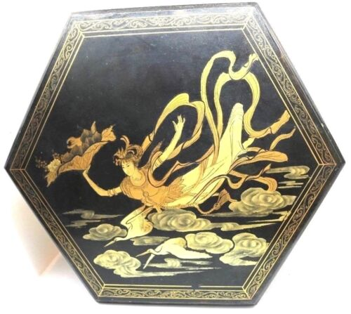 Antique Gilded CHINOISERIE Black Lacquer Large Hexagon  Sewing Box Chinese