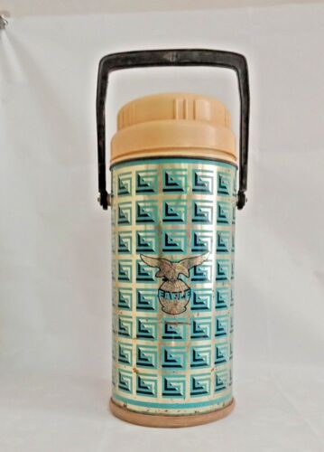Large Vintage Old Eagle Brand  Tin Hot Thermos / Flask Litho Print  India