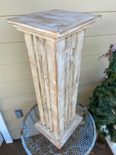 Reclaimed Wood Fluted Column Pedestal