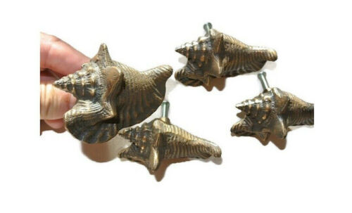 4 small SHELL FISH solid 100% BRASS knobs TROPICAL VINTAGE old style 75 mm B