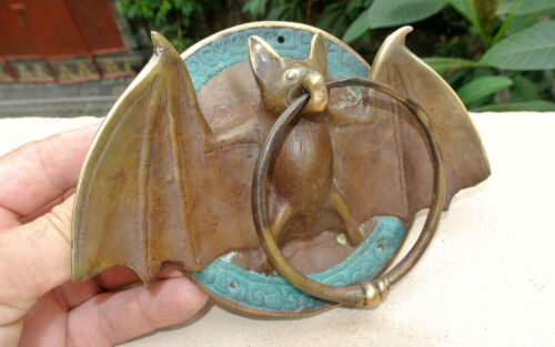 "Door Knocker BAT ring heavy front SOLID 100% BRASS vintage antique style 7"" B"