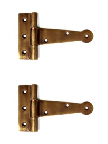 """2 small aged solid 100% Brass DOOR 10cm Natural hinges BOX Old style heavy 4""""B"""