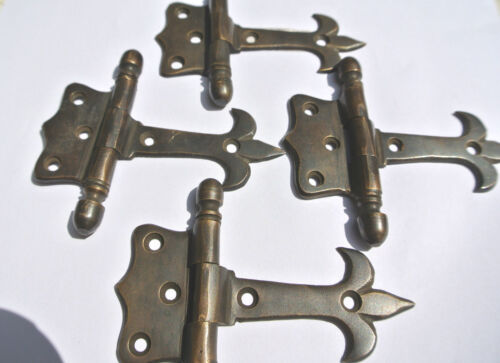 """4 solid Brass DOOR small hinges vintage age antique style restoration heavy 3"""" B"""