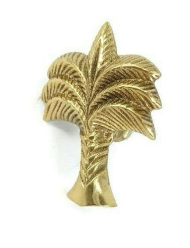 """small 6 cm Palm shape KNOB heavy SOLID BRASS Old style house 2.1/2"""" B"""