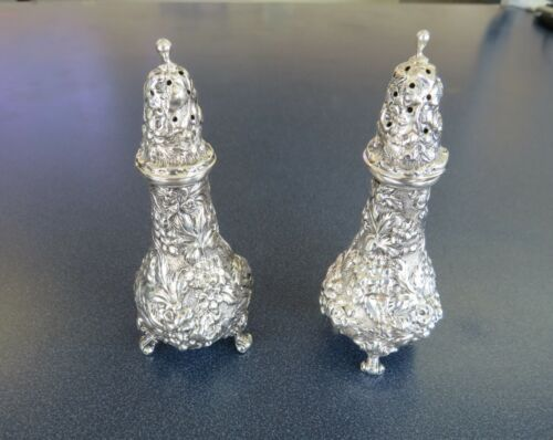 "Stieff Sterling 4 1/2"" Rose Pattern #12 Salt & Pepper Shakers - No Mono - #3582"