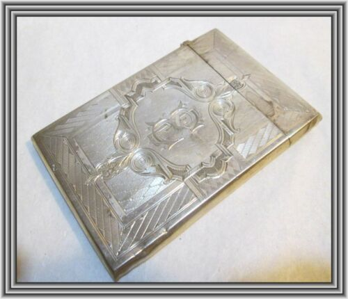 ALBERT COLES & Co - c1840s Sterling - ENGINE TURNED SILVER CALLING CARD CASE NR