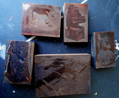 Old copper plate photo print plate pre columbian subjects