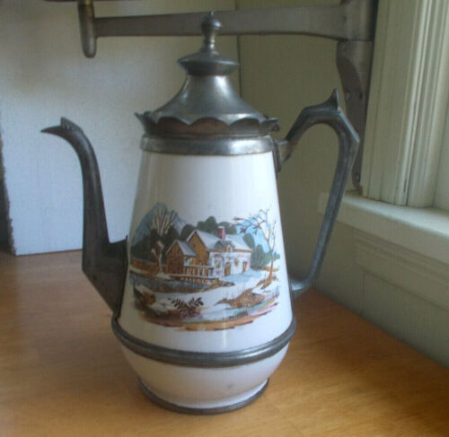 """1880s PEWTER & ENAMEL BIG 12""""COFFEE POT W/LID HAND PAINTED HOUSE ON POND SCENE"""