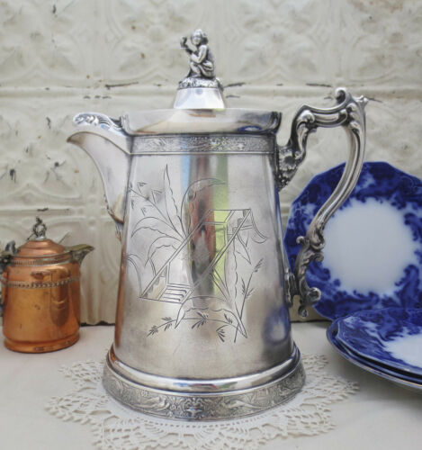 Antique Meriden Silver Plate Aesthetic Ice Water Pitcher Wine Toasting Putti Boy